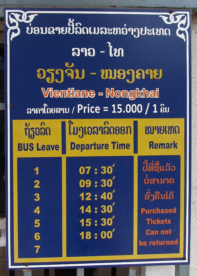 Bus schedule to Nong Khai