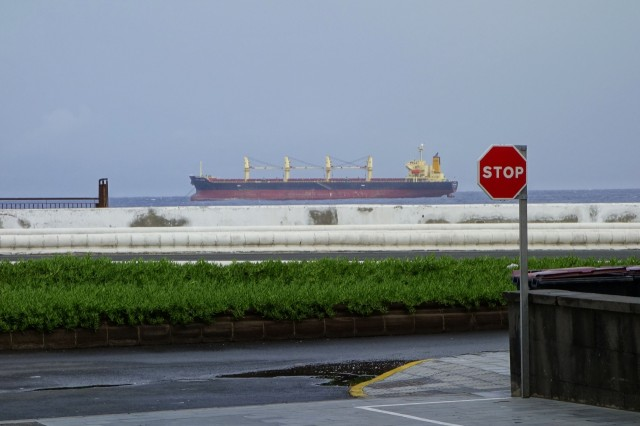 Ship at end of street